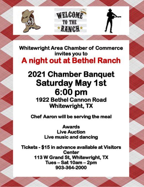 May 1, 2021 Chamber Banquet: A Night at Bethel Ranch