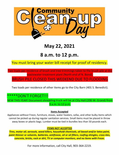 Community Clean-Up Day – Sat. May 22nd