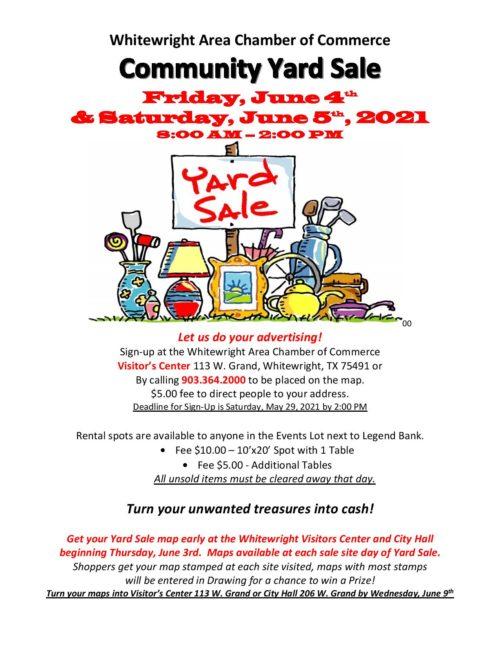 Community Yard Sale – Friday, June 4th & Saturday, June 5th