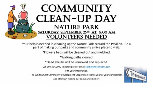 Community Park Clean-up Day – Saturday, September 25, 2021