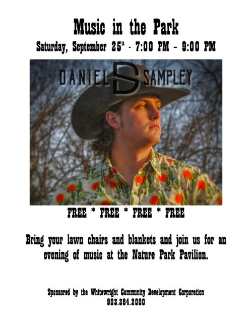Music in the Park with Daniel Sampley  Saturday, Sept. 25th 7:00 PM – 9:00 PM