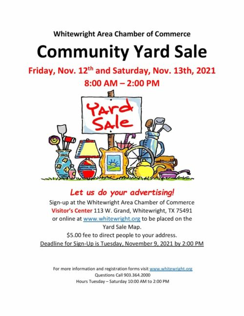 Community Yard Sale – Friday, November 12th & Saturday, November 13th, 2021